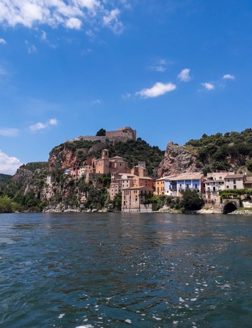 The view on Miravet village from river Ebro
