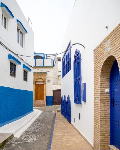 Rabat painted in blue and white in Morocco