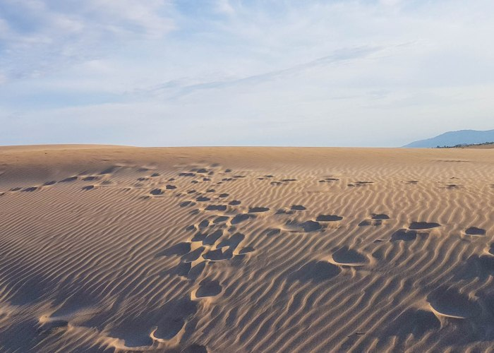 The view on sand dunes and footsteps in El Fangar peninsula