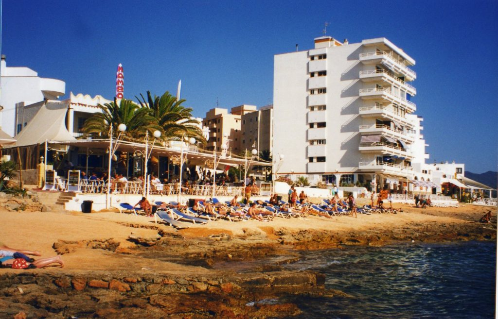 Ibiza beach in front of Cafe del Mar