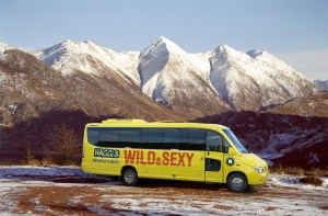 #GiftMeHaggis: photo of Haggis Adventures tour bus in front of snow-capped mountains
