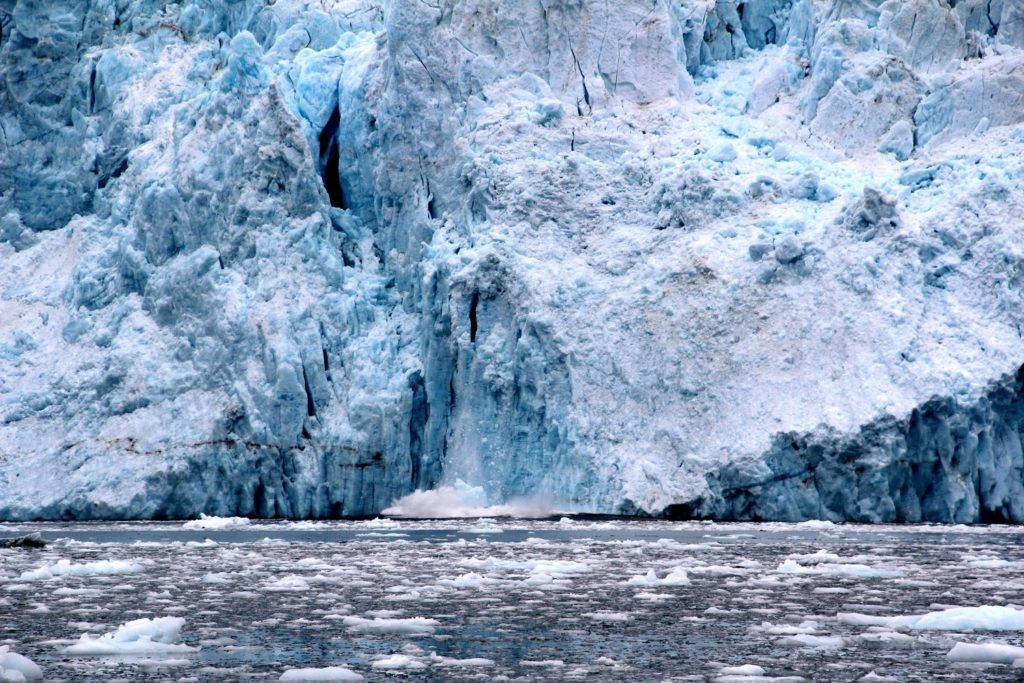#ExploreTheElements: Fire entry - a glacier partially collapsing into the water