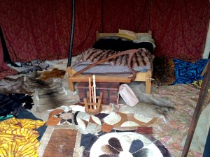 Inside a Roman tent' animal skins are used as rugs