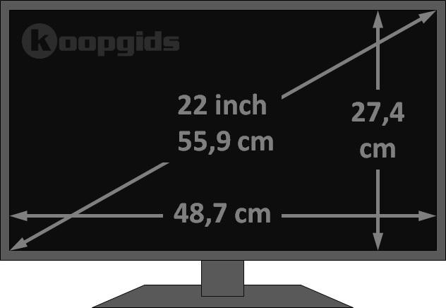 Afmetingen TV: beelddiagonaal (inch) naar hoogte/breedte ...