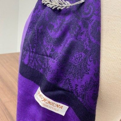 Pashmina Scarf Combo in Deep Purple with Clip