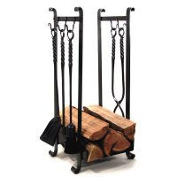 Log Holder with 5 Hooks | Wrought Iron Home Accessories