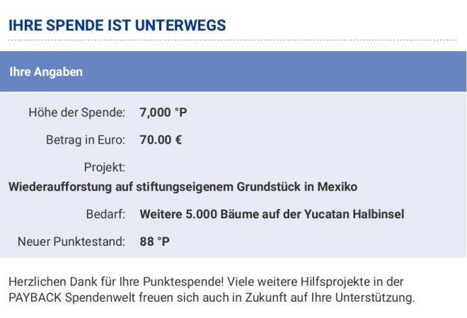 Screenshot Payback-Punkte-Spende
