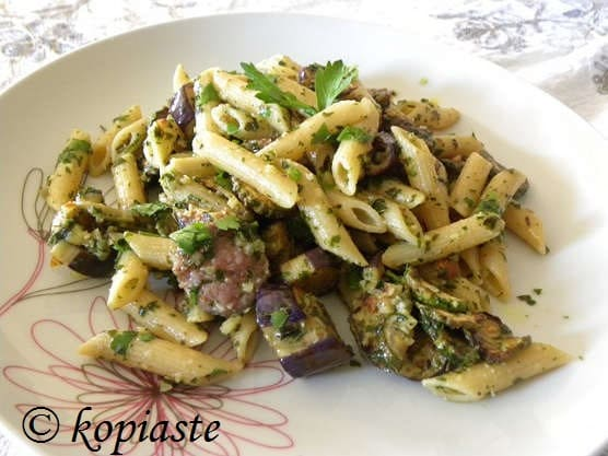 whole wheat pasta with sausage courgettes and eggplants