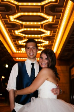 Bride and Groom underneath the lights