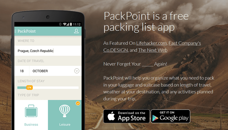 PackPoint Travel Packing List
