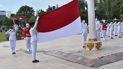 HUT Proklamasi di Kota Barabai dengan prokes ketat. (foto: ramli)
