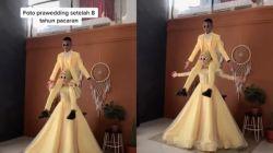 Cewek Gendong Calon Suami di Pundak saat Foto Prewedding. (TikTok)