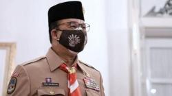 Gubernur DKI Jakarta Anies Baswedan dalam acara peringatan Hari Pramuka ke-60 di Balai Kota DKI Jakarta, bersama Kwartir Daerah (Kwarda) Pramuka DKI Jakarta, Minggu (22/8/2021). (Instagram@aniesbaswedan)