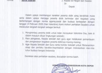 Disdik Kota Depok Keluarkan Surat Edaran Larang Perayaan Valentine