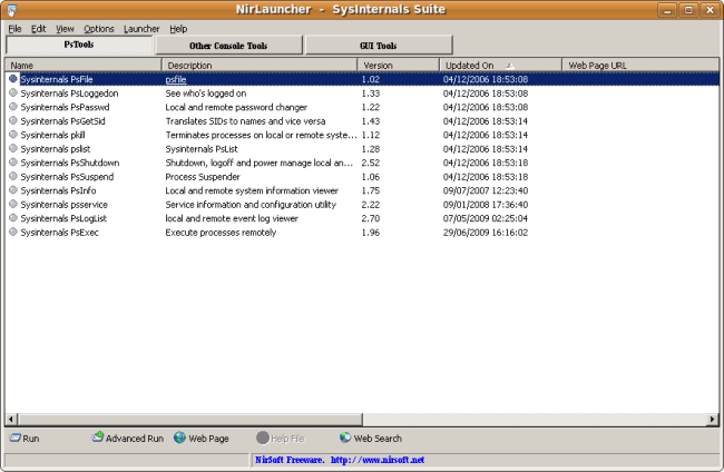 Capture-NirLauncher  -  SysInternals Suite