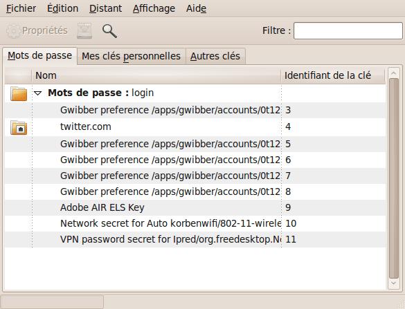 Capture-Mots de passe et clés de chiffrement