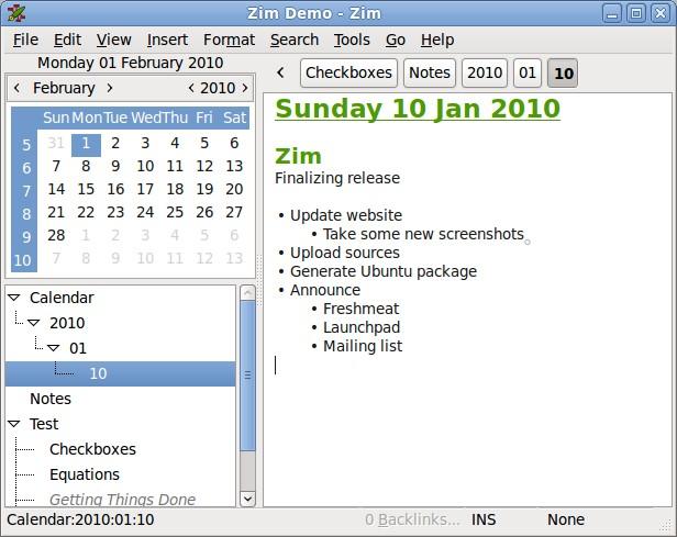 Zim fonction calendrier