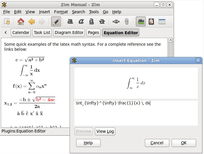 Plug-in Equation pour editeur Zim