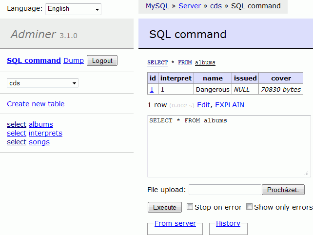 sql Un clone de PhpMyAdmin qui tient en 1 seul fichier PHP