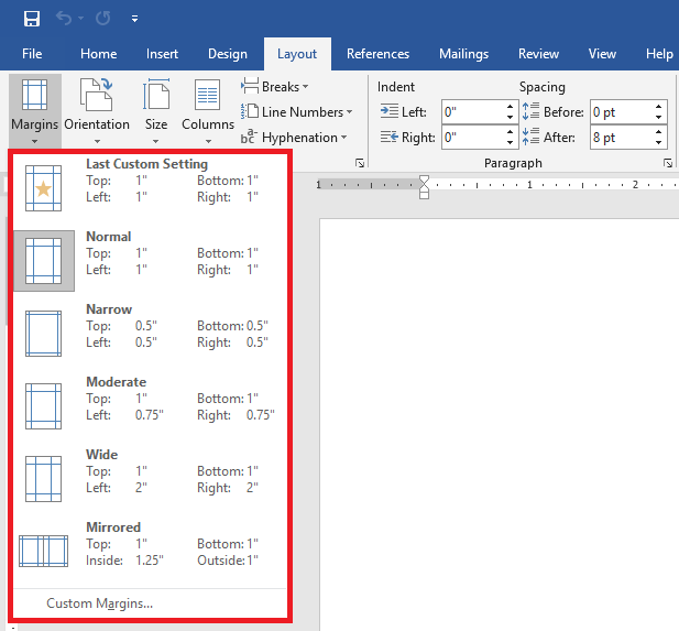 Margins in Microsoft Word