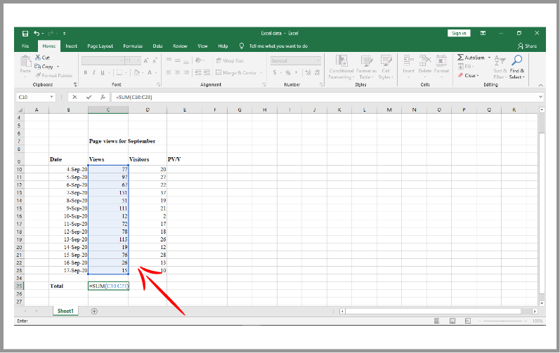Summation Formula in Excel