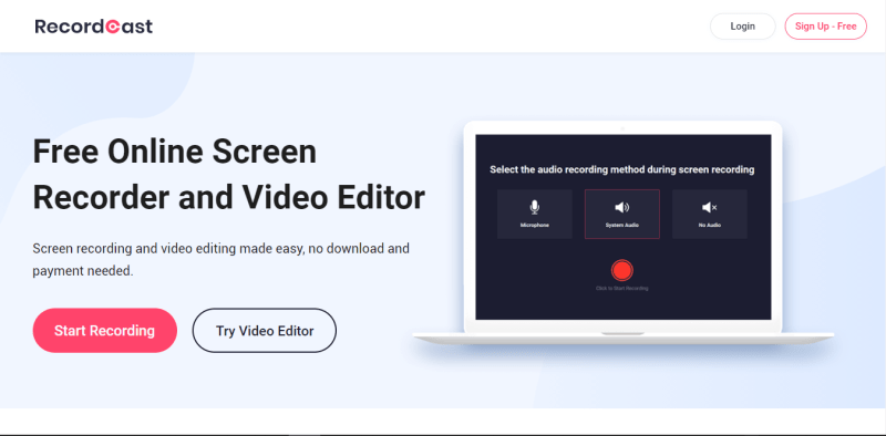 RecordCast screen recorder home page