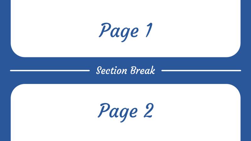 Section breaks in Microsoft Word
