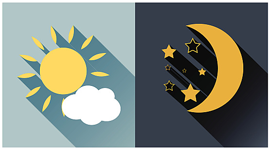 Vector illustration of day and night