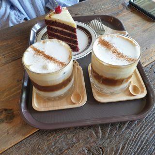 Almont cream latte and red velvet cake