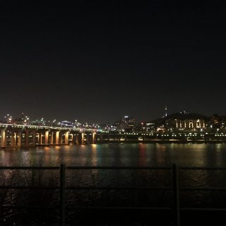 A view of the Hangang river at night from the Jamwon park
