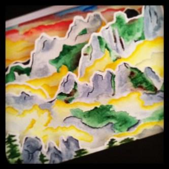 Watercolor shadow box (Seoraksan Mountains, South Korea)