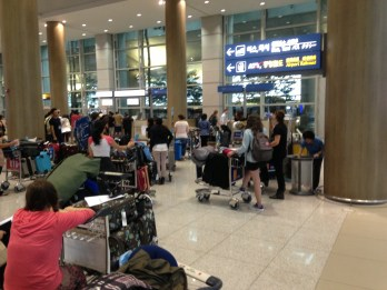 EPIK teachers waiting to be shuttled to Daejeon for orientation.