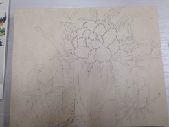 Beginning to enhance transferred pencil lead with Korean ink.