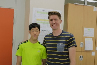 """Kim Bu-Geon, a 2nd year middle school student athlete with special needs. In the beginning of the year he would barely make eye contact with me, but by the end he would should """"Hello!"""" and wave from across the crowded lunchroom. We played badminton together several times, and once or twice rode the bus home together."""