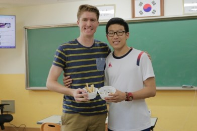 """Jeong Chang Min, a very outgoing and hardworking young guy. On our first day of meeting he told me to call him MJ, short for """"Michael Jordan."""" A big basketball fan, he's also a really gifted English student."""