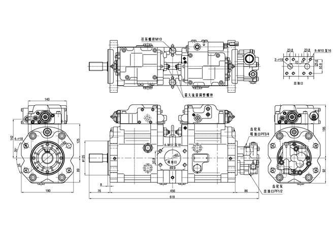 Komatsu PC120-6 굴착기 유압 Kawasaki 펌프 K5V80DT-9N0Y-01 검정 110kgs