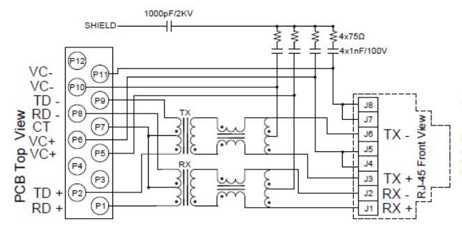 8 핀 커넥터를 가진 ARJP11C-MBSC-L2 10/100Base-T 자석 RJ45 잭