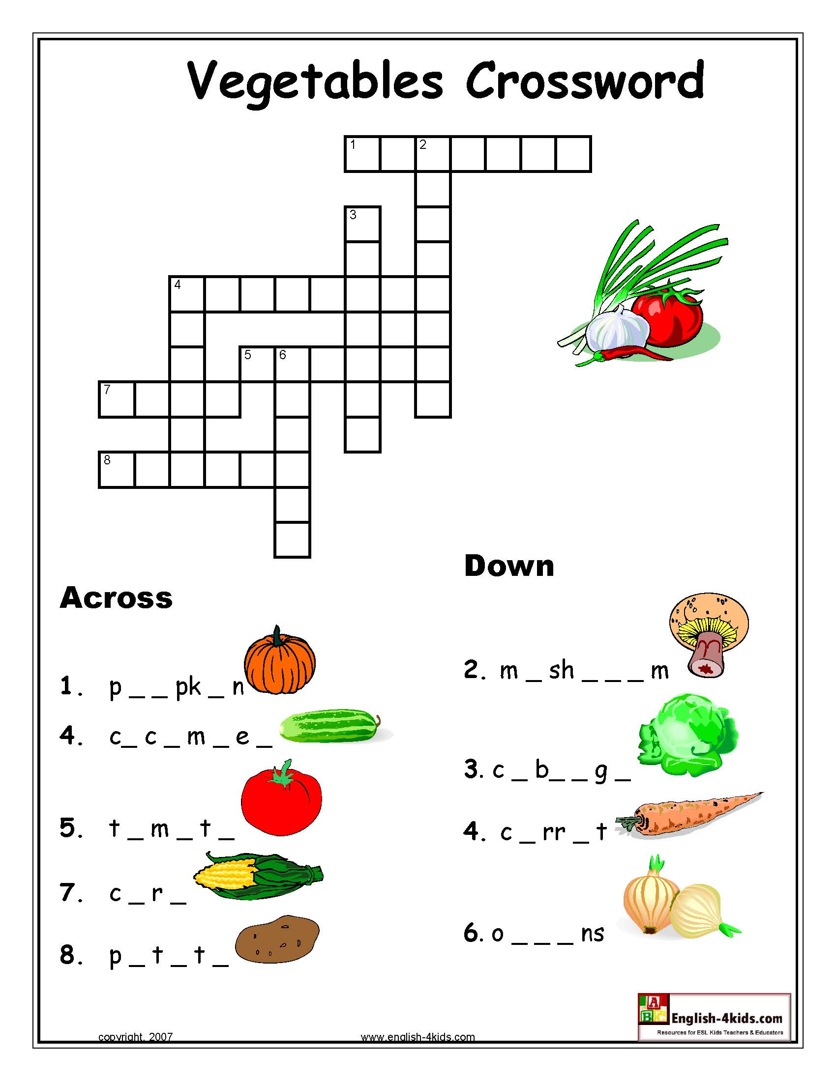Vegetable Crossword