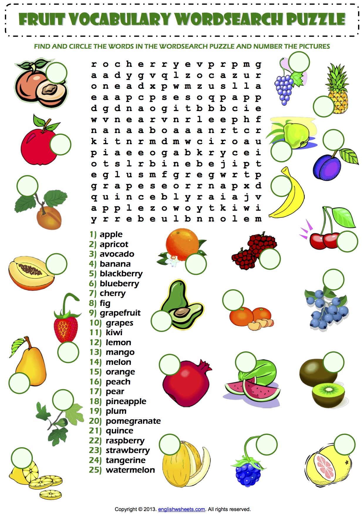Fruit Vocabulary Wordsearch