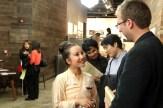 Park Sunnee talks to a guest