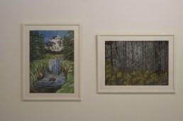 Enya Elswood: Glacier Waterfall (2011), Birch trees (2011).