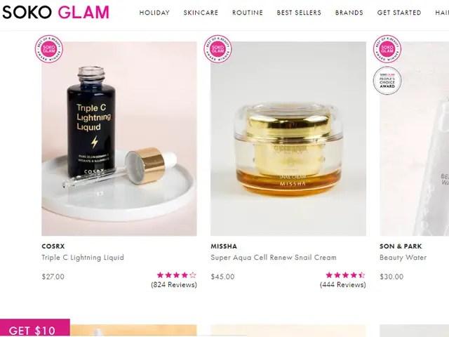 Where to buy Korean skincare online Soko Glam