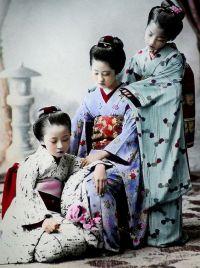 An 1890s study of young Japanese girls by K. TAMAMURA of Yokohama, Japan.