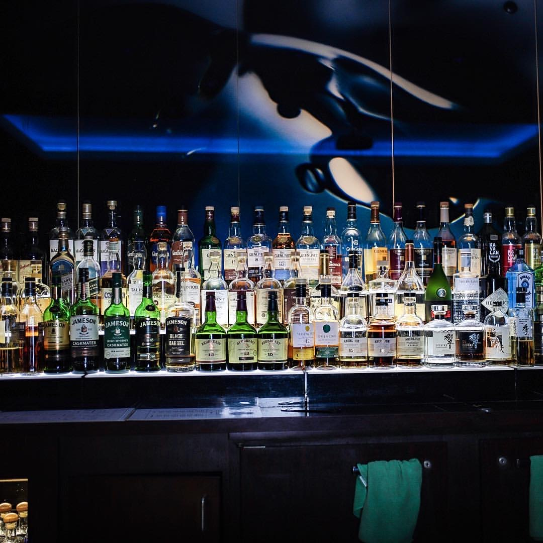 Cafe Blue LA bar liquor collection