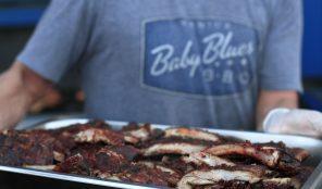 Baby Blues BBQ logo on t-shirt