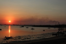 Sunset over Melville Bay and the alumina refinery on the Gove Peninsula, North East Arnhem Land, 2012.
