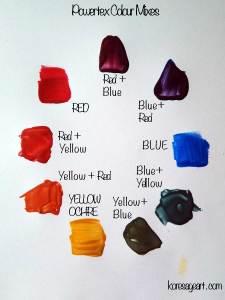 Powertex colour mixing swatches