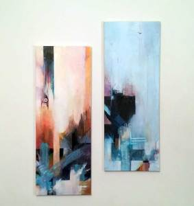 two acrylic paintings from November 2020 by Kore Sage