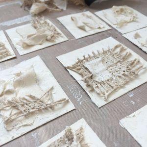 Ivory Powertex Universal Medium and fabric mini art