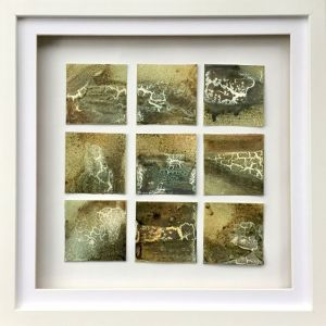 Powertex mini art with Green bister displayed in a box frame